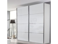 Celine Sliding Door Robe in White with White Glass or Mirror Doors