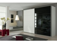 Quartz Sliding Door Wardrobe In White Wood And Black Glass