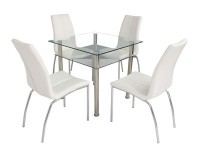 Cassidy Dining Set In Clear Glass