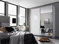 Esme 181 cm gliding door robe white glass and mirror
