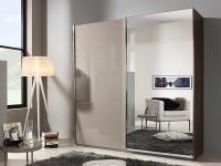Esme 181 cm gliding door robe fango glass and mirror