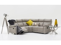 Polo Leather corner with recliners in Grey