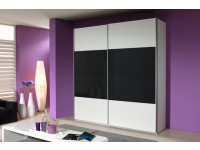 Quartz Sliding Door Wardrobe In White And Black