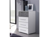 Wesley 4 drawer chest White and Stone Grey